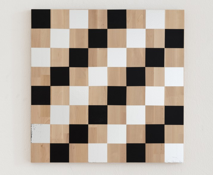 Karl Holmqvist Untitled Checkerboard Painting Black and Silver  - Karl Holmqvist
