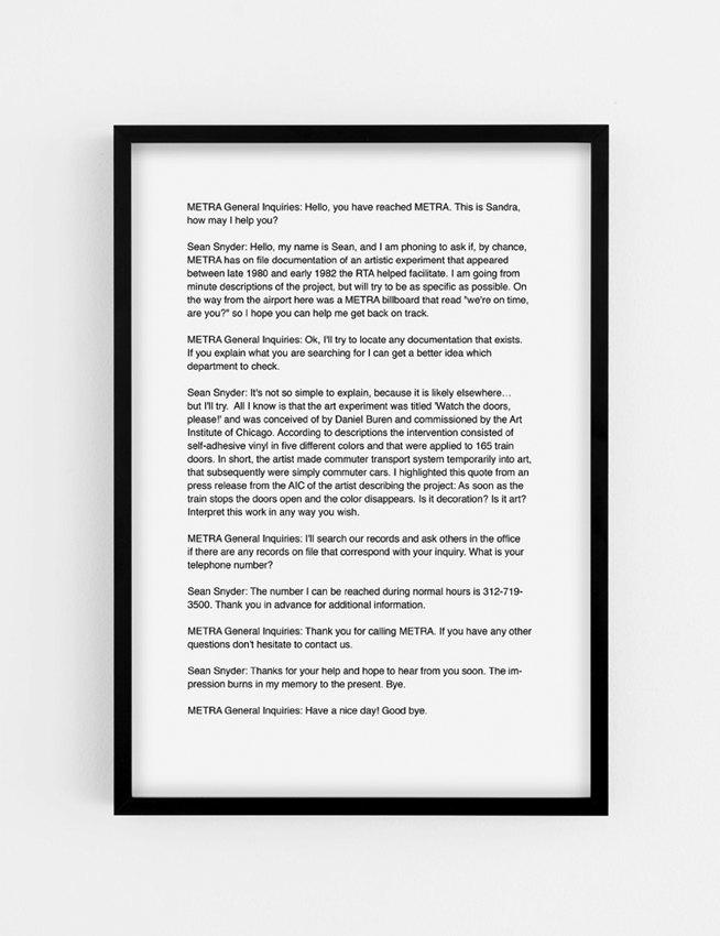 Sean Snyder Correspondence with METRA (Chicago Urban Transport),2015 b/w archival pigment print on matte paper, 29,7 cm x 42 cm