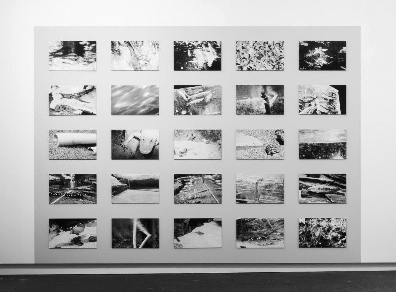 Sean Snyder Mnemonic Equation (Level 3), 2016 25 b/w archival pigment prints on matte paper mounted on 3 mm aluminum, 30 x 48.5cm,installedonwallpaintedRAL 7047, 240 cm high x 332.5 cm wide