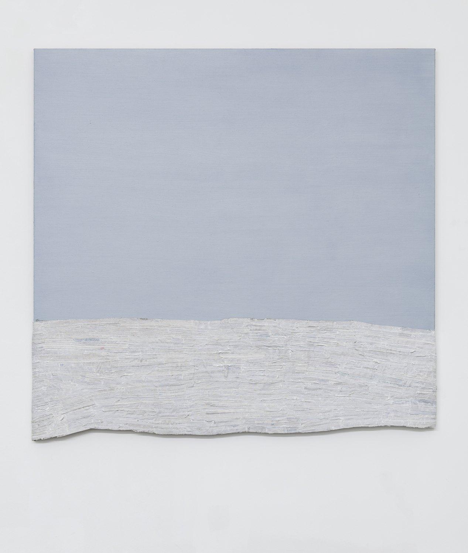 Sergej Jensen Marine Layer, 2017 Acrylic and oil on sewn linen, 175 x 188 x 3 cm