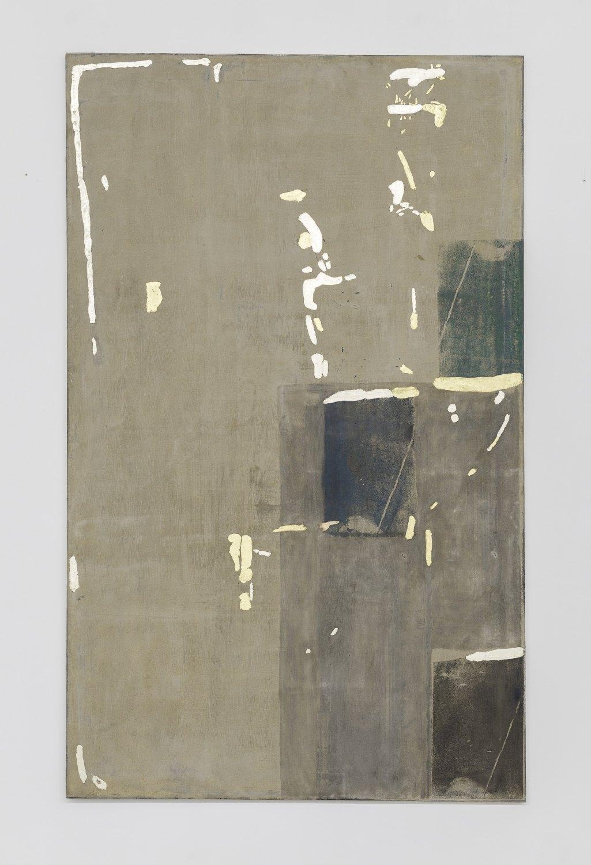 Sergej Jensen H2Ooh, 2017 Acrylic and gold on linen, 210 x 130 x 2 cm