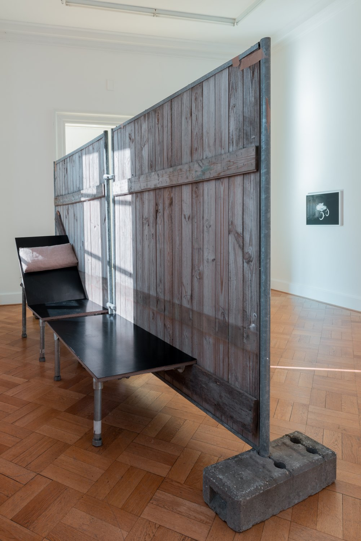 Klara Lidén Chaise Zaun, 2016 Hoarding, concrete, wood, steel, 201 x 91 x 379 cm