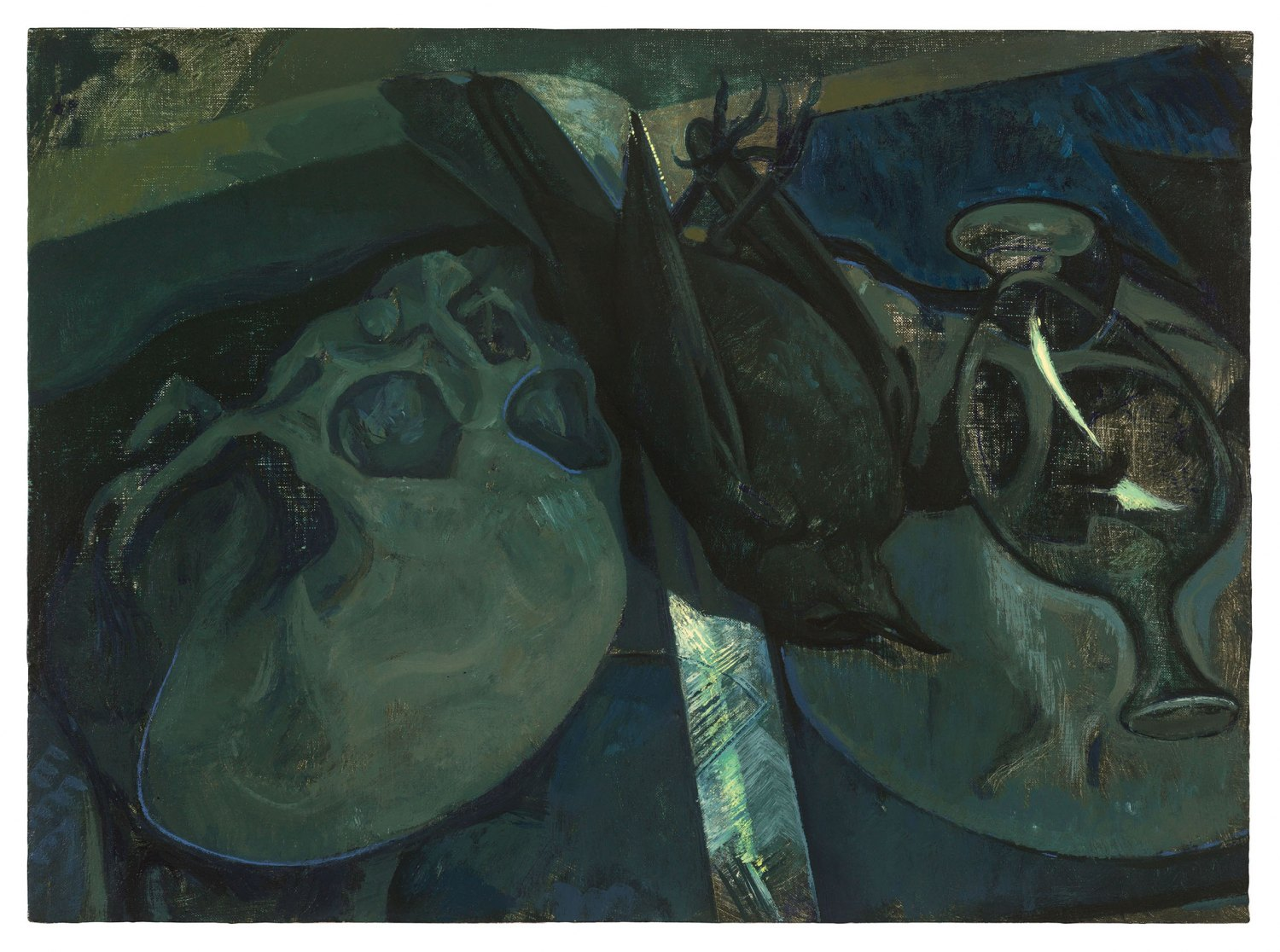 Victor Man Two Skulls After El Greco and Blackbird, 2017 Oil on canvas mounted on wood, 30 × 41 cm