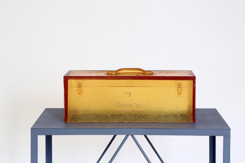 Alex Hubbard Untitled   (Tool Box), 2014 Urethane and metal stand, box: 20 × 51 × 20 cm, plinth: 126.5 × 73.8 × 43.4                     cm
