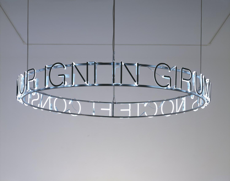 Cerith Wyn Evans In girum imus nocte et consumimur igni, 2008 Negative neon, metal, cable, plexiglass, 20 × 185 cm