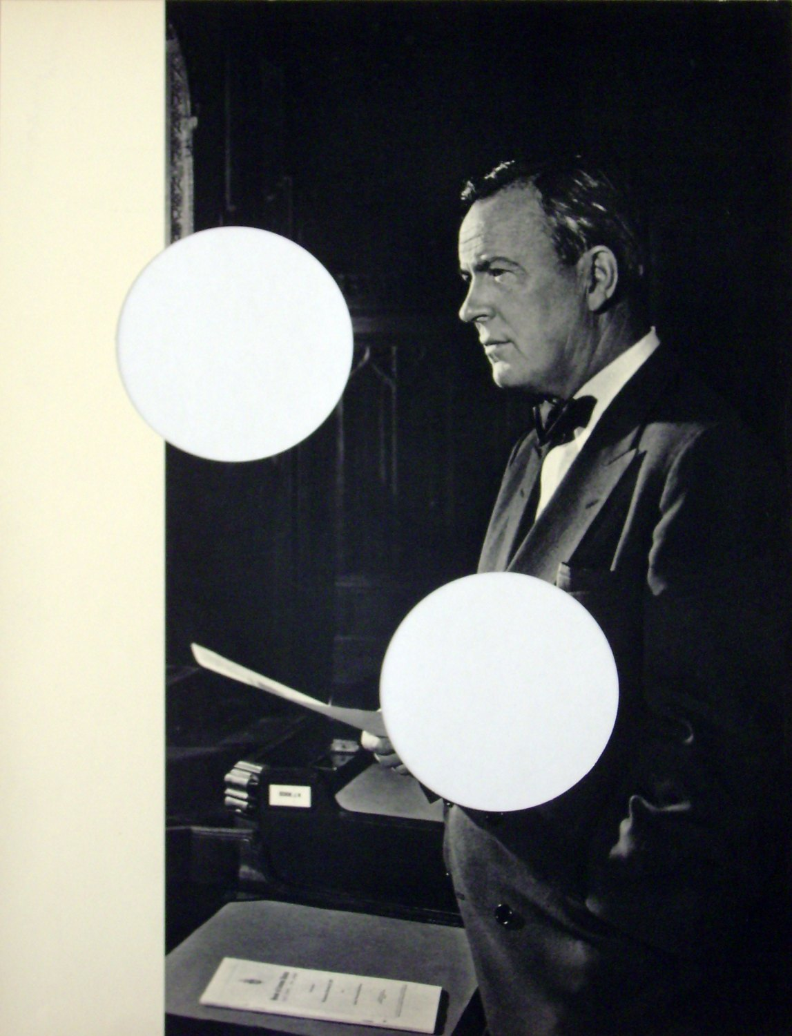 """Cerith Wyn Evans   Untitled (Lester B. Pearson), 2003   """" Portraits of Greatness""""after Y.Karsh, gerahmt,  48 × 41.5 cm"""