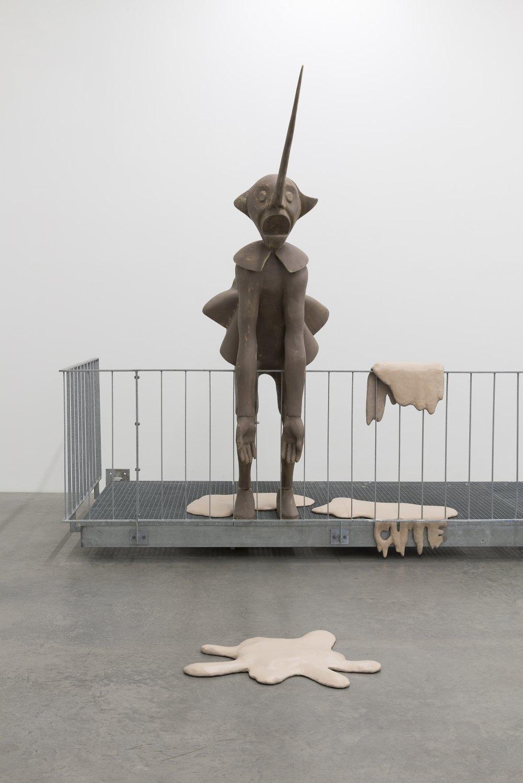 Cosima von Bonin  DER ITALIENER, 2014    Styrofoam, fibreglass, laminate, galvanized steel,  Figure: 250 × 80 cm, Balcony: 150 × 600 cm