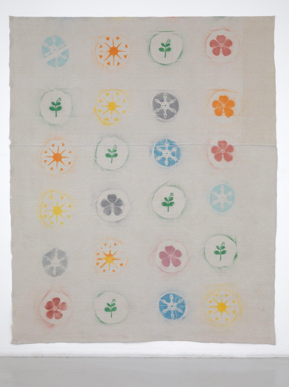 Gedi Sibony   The Seasons Cycle, 2012 Spraypaint on canvas dropcloth,  287 × 236 cm
