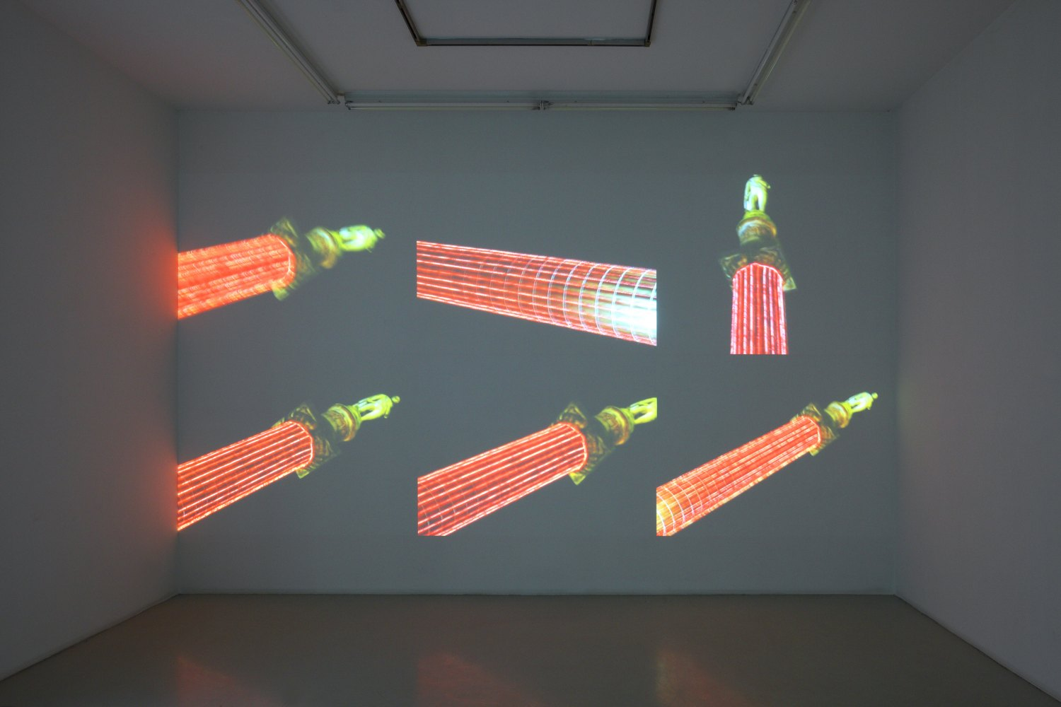 Hilary Lloyd  Column, 2009  6 Sanyo PLC-XP100 Projectors, 6 Pioneer DVD-V7300D Players, 12 Unicol Suspension Units, dimensions variable