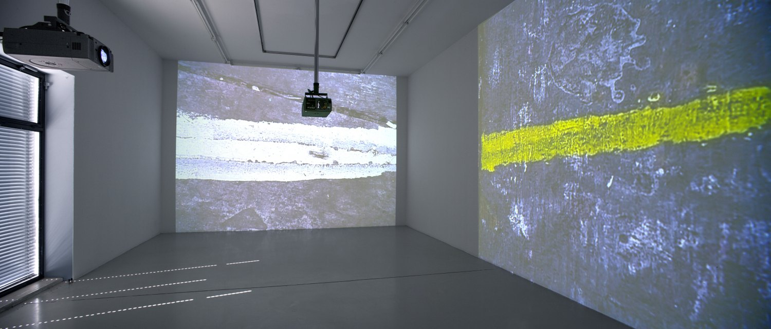Hilary Lloyd Studio, 2007 2 DVDs, Unicol suspension units, Pioneer DVD-V7300D, Eiki LC-X71, 38 min, dimensions variable