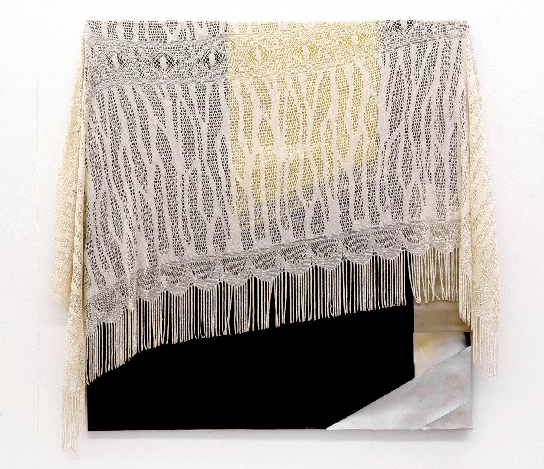 Kai Althoff Big Ben, 2004 Collage, spray paint, oil, plastic foil, fabric on fabric, 88 × 82 cm