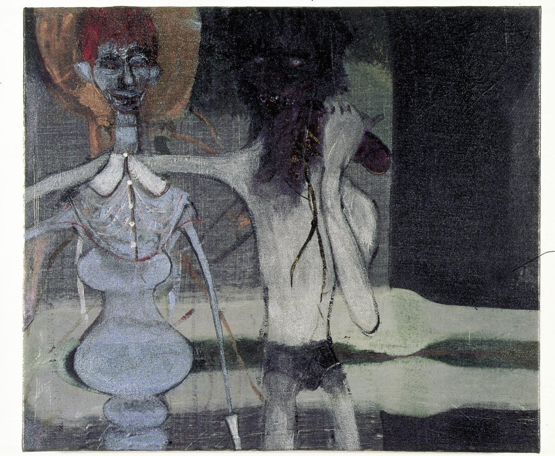 Kai Althoff Freunde, wie ihr sie nie kennen werdet, zu Eurem Schaden, 2002 Metallic fabric paint, spar varnish, varnish on canvas,60 × 70 × 4.5 cm