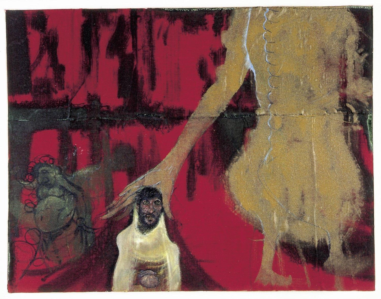 Kai Althoff Gott geht vorüber, 2002 Watercolor, spar varnish, varnish, fabric on canvas,70 × 90 × 8 cm