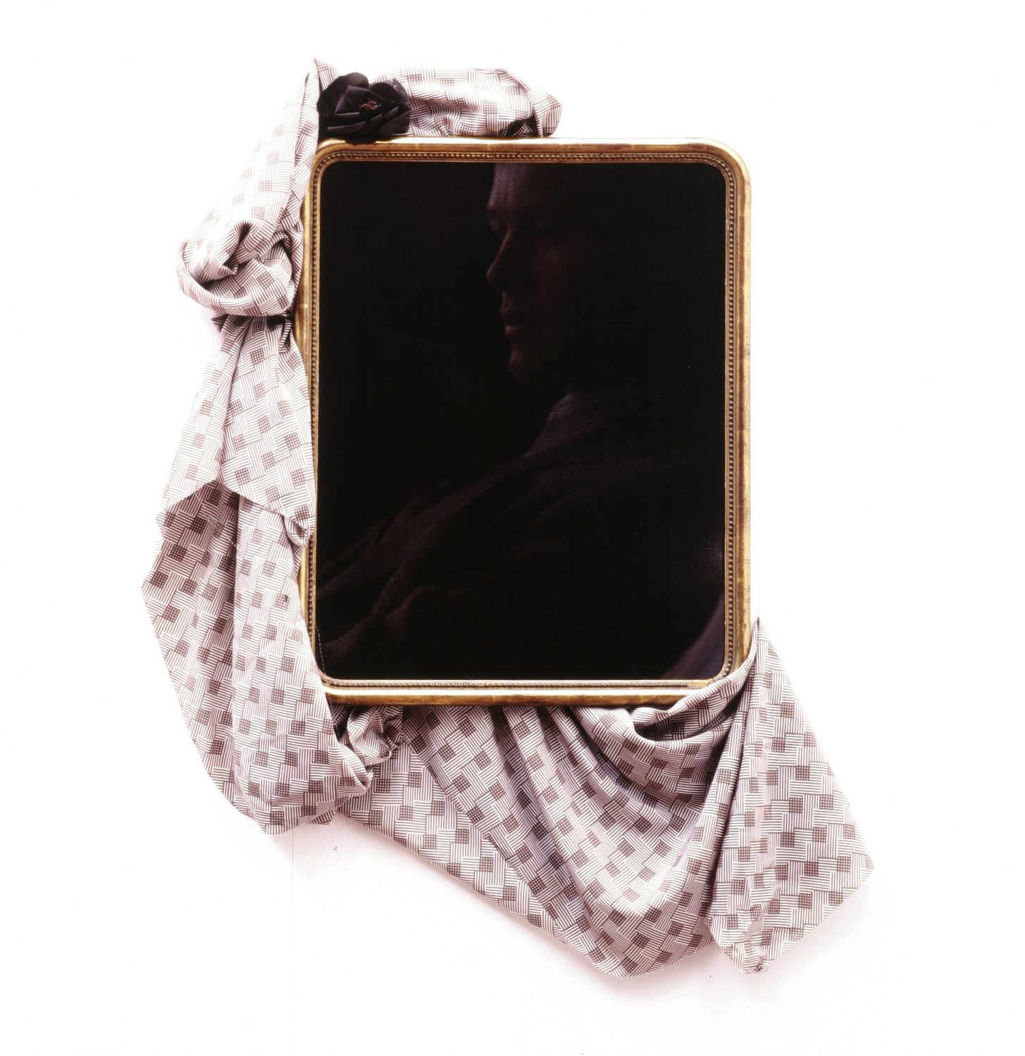 Kai Althoff Untitled, 2004 Photography on aluminum foil in antique frame, fabric, flower, 62 × 49 cm