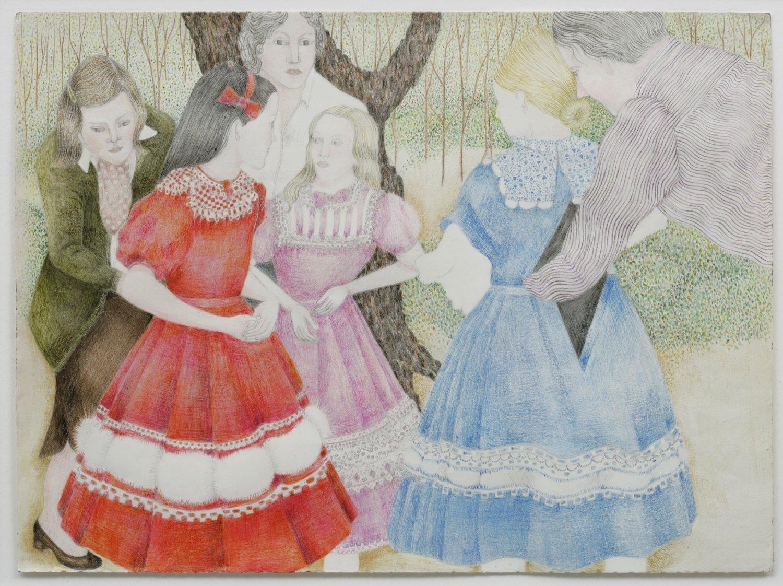 Katharina Wulff   Der Puppenspieler / the puppeteer, 2005    Crayon on paper, framed  43.5 × 50 cm