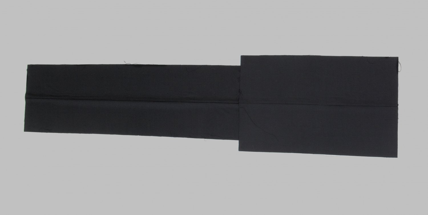 Kitty Kraus Untitled, 2007 Suiting fabric (black, two parts, two centered seams), 43 × 70 cm and 34 × 113 cm