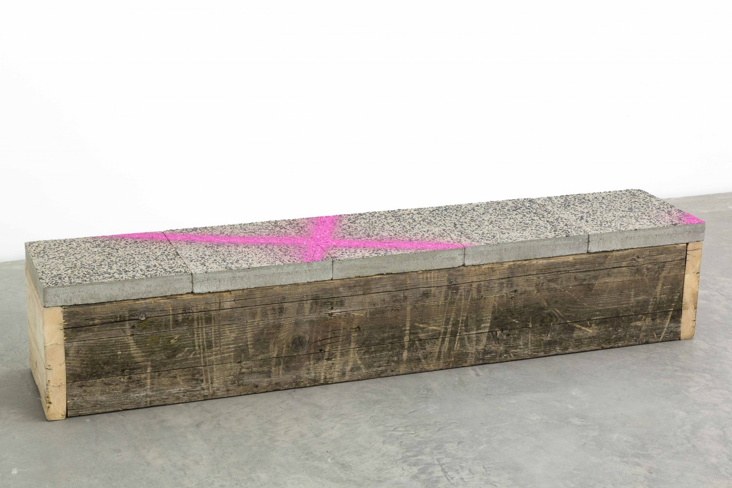 Klara Lidén  Untitled, 2015 Wood, concrete, 34 × 140 × 35 cm