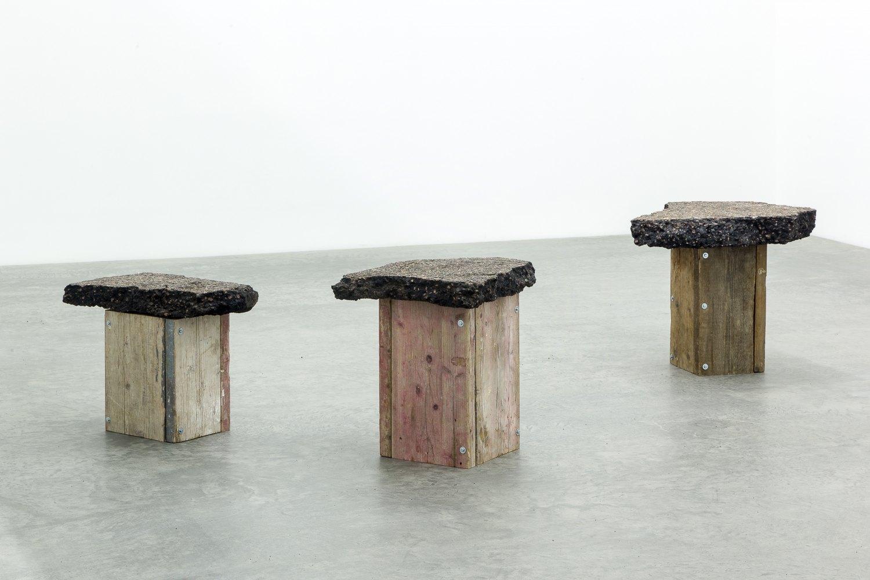 Klara Lidén Untitled, 2013 Asphalt and wood, dimensions variable