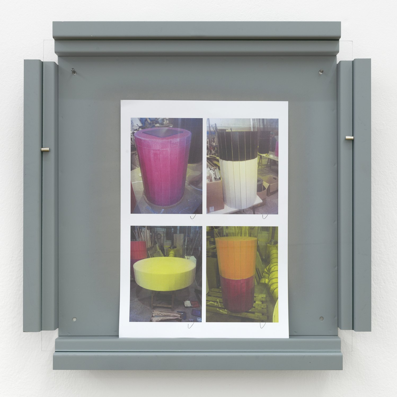 Manfred Pernice   Cassette 28, 2014    Metal, paint, glass, paper,  42.2 × 42.2 × 4.4 cm