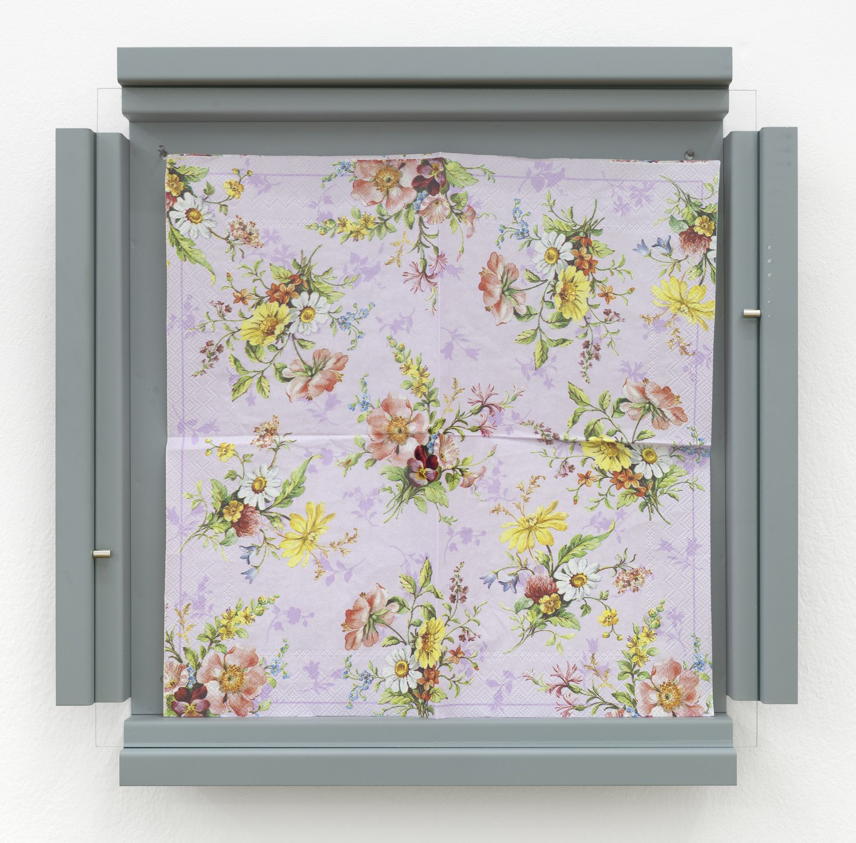 Manfred Pernice   Cassette 32, 2014    Metal, paint, glass, paper tissue,  42.2 × 42.2 × 4.4 cm