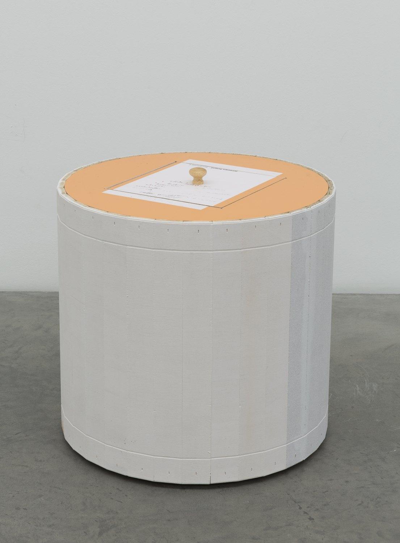 Manfred Pernice   orientierung-Odenwald, 2015    Wood, ceramic, booklet,  42.5 × 51.5 × 51.5 cm