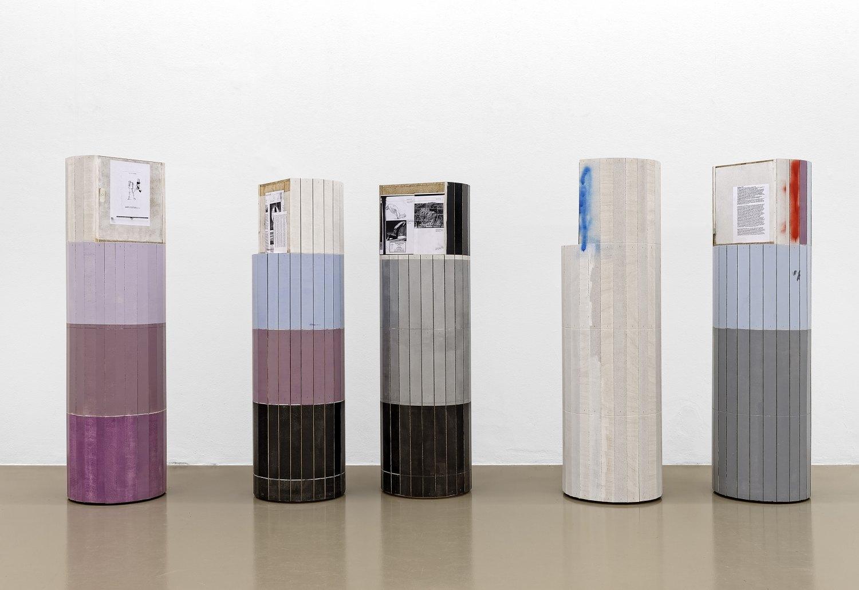 Manfred Pernice   Untitled (Dosen), 2013    Wood, paint, paper,180 × Ø 48 cm