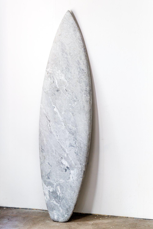 Reena Spaulings Mollusk (Bardiglio), 2014 Marble, 199 × 51 × 4 cm