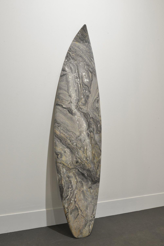 Reena Spaulings Mollusk (Grigio Orobico), 2014 Marble, 199 × 51 × 4 cm