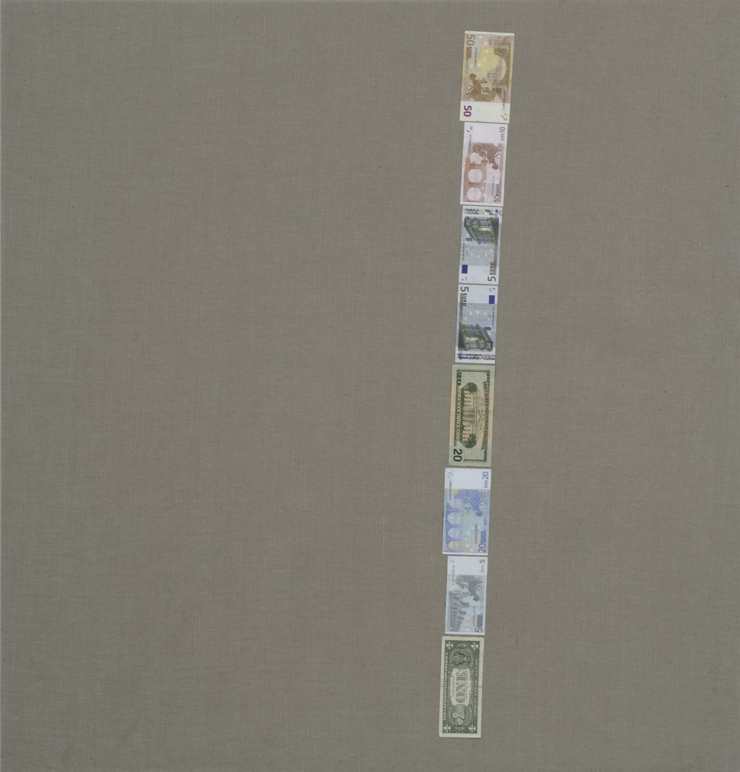 Sergej Jensen Untitled (Binary One), 2005 Banknotes on canvas, 120 × 115 cm