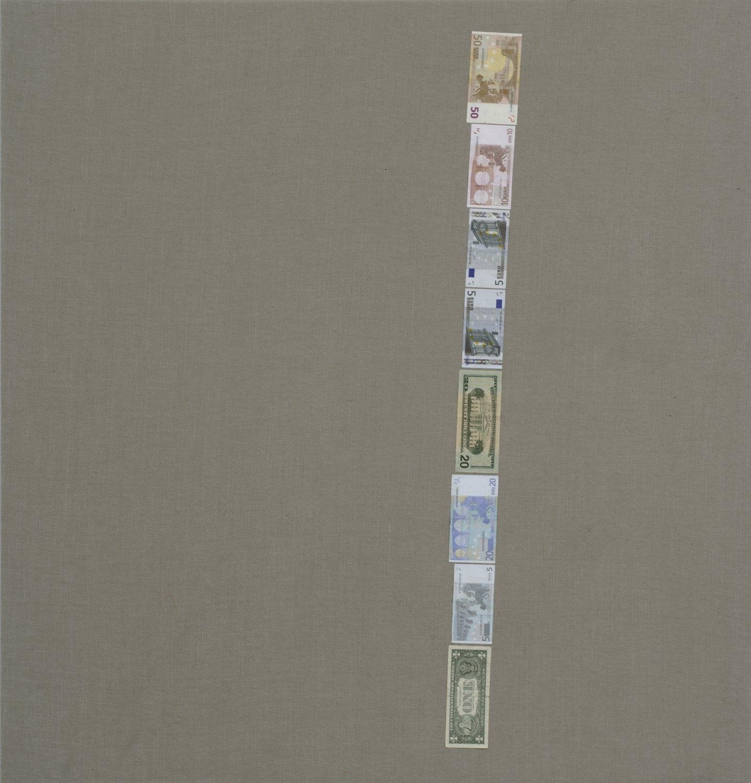 Sergej Jensen Untitled (Binary One), 2005 Banknotes on canvas, 120 × 115 cm
