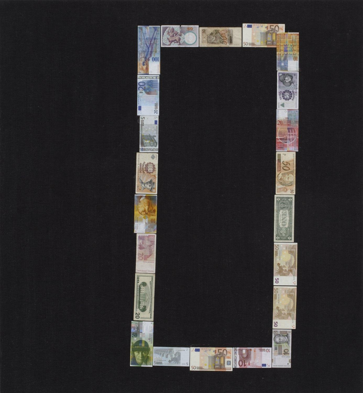 Sergej Jensen Untitled (Binary Zero), 2005 Banknotes on canvas,  130 × 120 cm